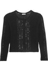 Oscar De La Renta Sequin Embellished Wool And Cotton Blend Cardigan Black