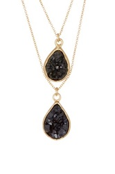 14Th And Union Dual Layer Druzy Necklace Black