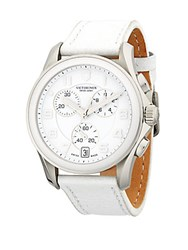 Victorinox Stainless Steel Leather Strap Watch White