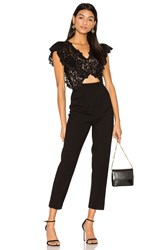 Rebecca Taylor Sleeveless Lace Jumpsuit Black