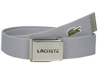 Lacoste 40Mm Woven Strap Belt Platinum Men's Belts Silver