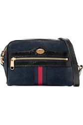 Gucci Ophidia Patent Leather Trimmed Suede Shoulder Bag Navy Gbp