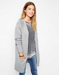 Brave Soul Long Lined Cardigan With Front Pockets Silvergrey