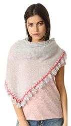 White Warren Cashmere Tassel Triangle Scarf Misty Gray Multi
