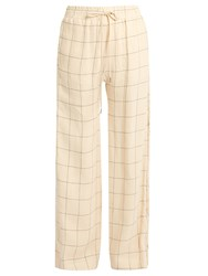 Zimmermann Stranded Threadbare Wide Leg Linen Trousers Cream Print