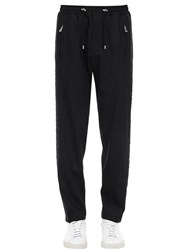 Balmain Baggy Wool Blend Pants W Side Snaps Black