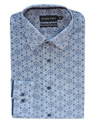 Double Two Men's Patterned Formal Shirt Navy