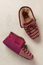 Anthropologie Finley Patchwork Slippers Red Motif