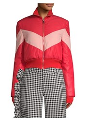 Maggie Marilyn Chevron Puffer Jacket Red