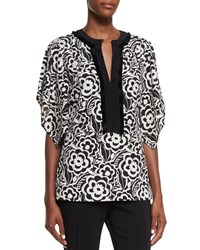 Etro Split Neck Kimono Sleeve Blouse Black White
