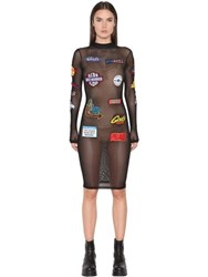 Gcds Patch Embroidered Stretch Mesh Dress