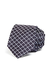 Theory Windowpane Check Skinny Tie Navy