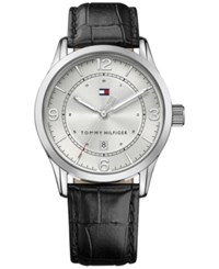 Tommy Hilfiger Men's Casual Sport Black Leather Strap Watch 42Mm 1710331