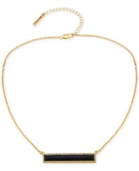 T Tahari Rectangle Stone And Clear Crystal Necklace Gold