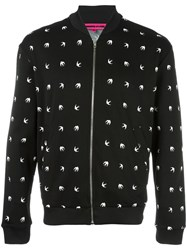 Mcq By Alexander Mcqueen Dove Pattern Bomber Jacket Black
