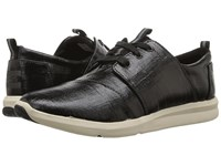 Toms Del Rey Sneaker Black Patent Linen Women's Lace Up Casual Shoes