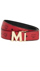 Mcm Gold M Buckle Reversible Belt Red And Gold