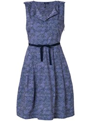 Woolrich Belted Flared Dress Blue