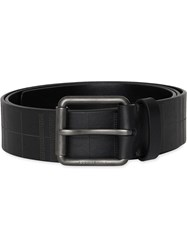 Burberry Perforated Check Leather Belt Black