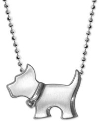 Alex Woo Scotty Dog Pendant Necklace In Sterling Silver