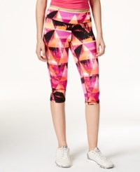 Material Girl Active Juniors' Printed Cropped Leggings Only At Macy's Sunset Geo