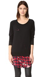One By The Nu Vintage Destructed Sweatshirt With Flannel Layer Black Red