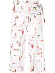 Chalayan Rose Print Wrap Trousers White