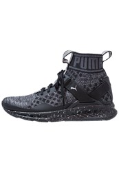 Puma Ignite Evoknit Neutral Running Shoes Black Asphalt Silver