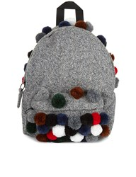 Joshua Sanders Grey Cable Knit Pom Pom Backpack