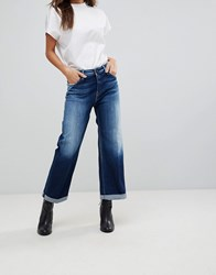 Replay Wide Leg Skater Jean Dark Wash Blue