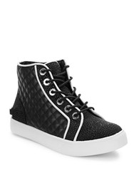 Karl Lagerfeld Searle Beaded And Leather Sneakers Black White