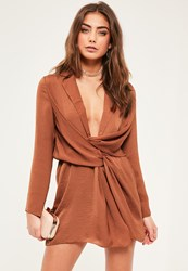 Missguided Petite Exclusive Brown Satin Wrap Plunge Neck Dress