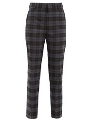 Balenciaga Checked Twill Tapered Trousers Grey Multi