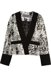 Ungaro Animal Print Crepe Jersey And Satin Jacket