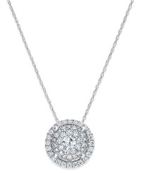 Macy's Diamond Round Cluster Pendant Necklace 3 4 Ct. T.W. In 14K White Gold