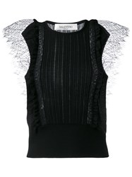 Valentino Lace Insert Knitted Top Black