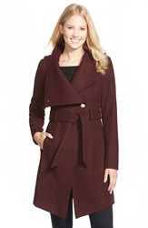 Women's Guess Belted Asymmetrical Wool Blend Trench Coat