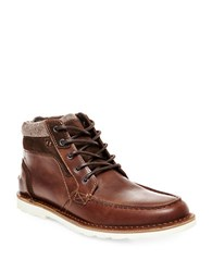 Steve Madden Intrepad Moc Toe Leather Boots Cognac