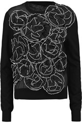 Jonathan Saunders Hazel Appliqued Merino Wool And Cotton Gauze Sweater Black