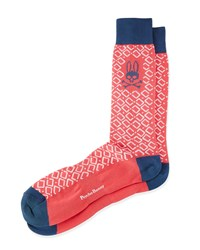 Geometric Mid Calf Socks Papaya White Coral Psycho Bunny