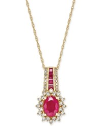 Macy's Ruby 1 3 4 Ct. T.W. And Diamond 1 2 Ct. T.W. Pendant Necklace In 14K Gold Red