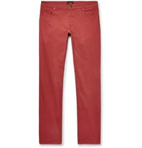 Tod's Slim Fit Garment Dyed Stretch Cotton Twill Trousers Red