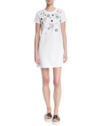 Miu Miu Embellished Short Sleeve Tee Dress White