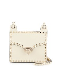 Red Valentino Rockstud Leather Lock Flap Square Shoulder Bag Ivory