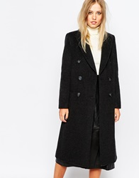 Whistles Emma Double Breasted Longline Coat Charcoal
