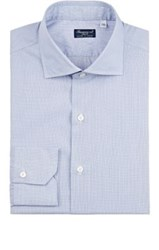 Finamore Men's Micro Checked Cotton Dress Shirt Navy