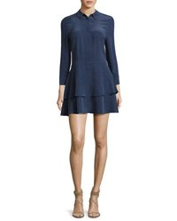 Equipment Natalia Tiered Silk Shirtdress Peacoat Navy