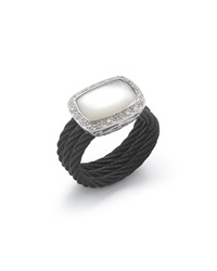 Alor Noir Mother Of Pearl And Diamond Ring Size 6.5