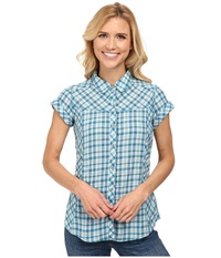 Royal Robbins Peasant Plaid S S Deep Sea Women's Short Sleeve Button Up Navy
