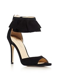 Ivanka Trump Herlle Ruffle Ankle Strap High Heel Sandals Black